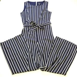 Tahari Navy Striped Belted Sleeveless Jumpsuit